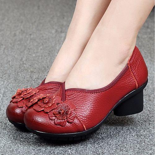 Mujer Zapatos Cuero Primavera / Otoño Confort Zapatos de taco bajo y Slip-On Tacón Cuña Negro / Rojo o20bJTIDF