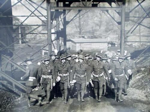 April 16, 1932  145th Ohio National Guard from Cleveland sent into keep peace between miners and pickets at the Somers Coal Mine near Cadiz, Ohio