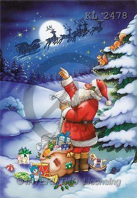 Interlitho, Michele, CHRISTMAS SANTA, SNOWMAN, paintings, santa, bag, sleigh(KL2478,#X#) Weihnachtsmänner, Schneemänner, Weihnachen, Papá Noel, muñecos de nieve, Navidad, illustrations, pinturas