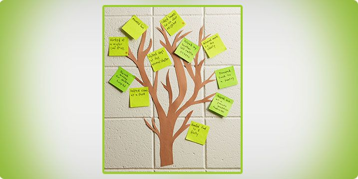 Giving Tree: Instill the values of caring and service.  Create a Giving Tree using Post-it® Super Sticky Notes.