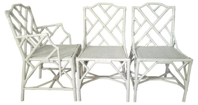 Chinese Chippendale Rattan Chairs, S/6