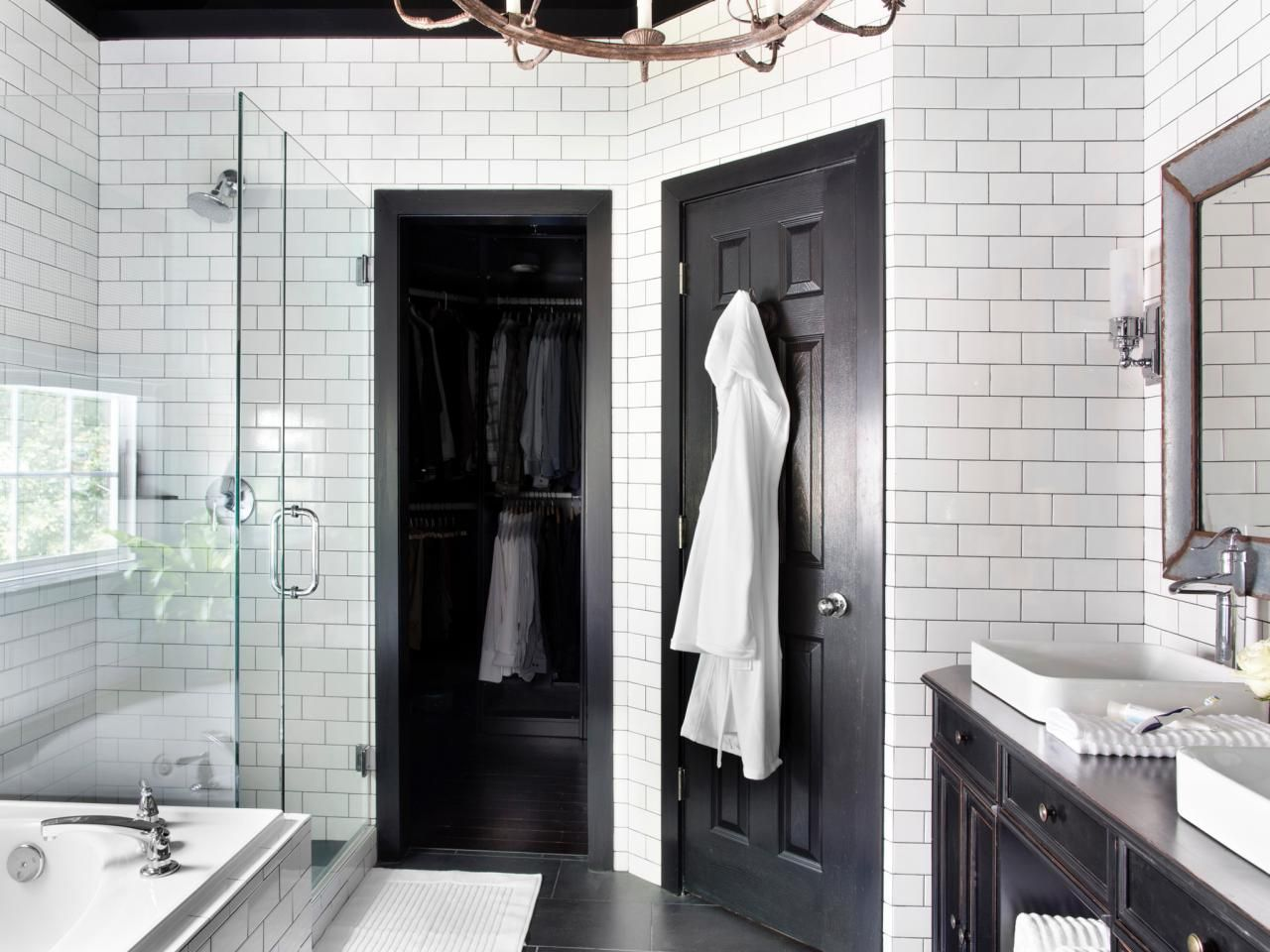 Timeless black and white master bathroom makeover pinterest