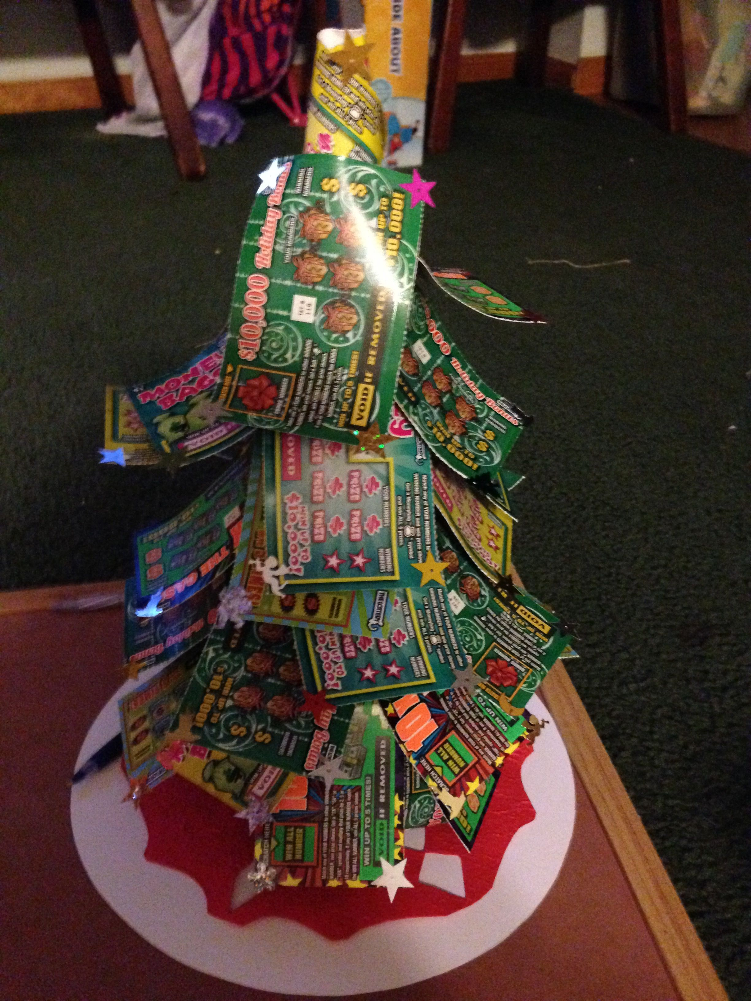 Check out my updated lottery ticket christmas tree with
