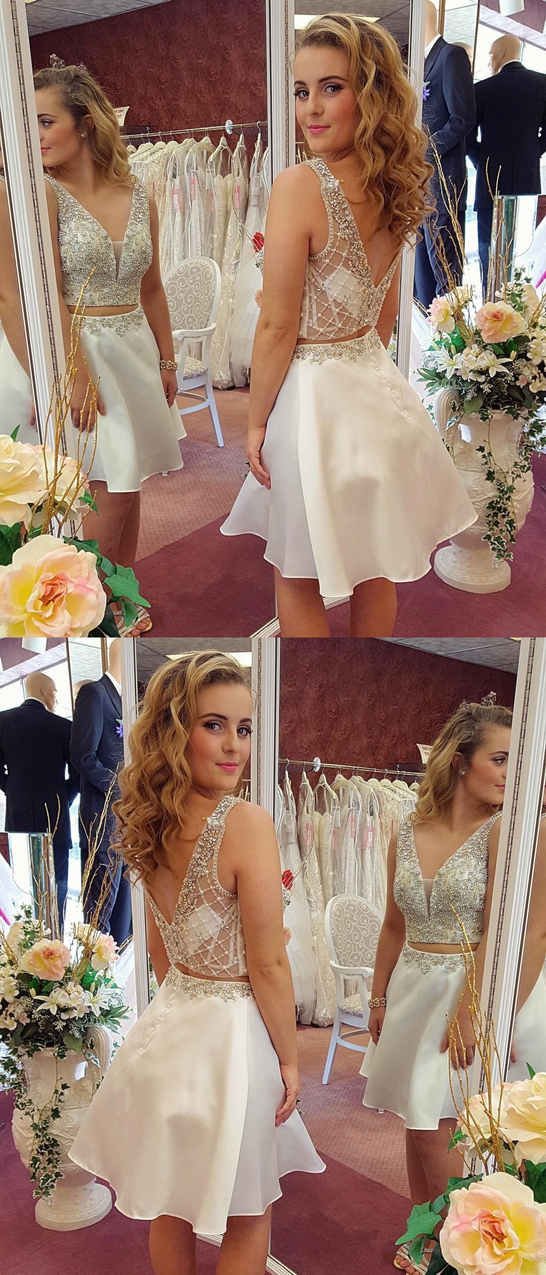 Cute two piece v back aline white homecoming dresses short prom