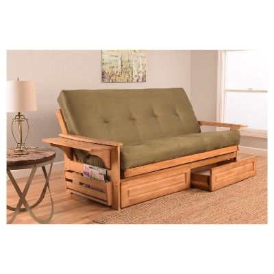 Huntington Ernut Finish Futon With Storage Drawers Olive Suede Christopher Knight Home