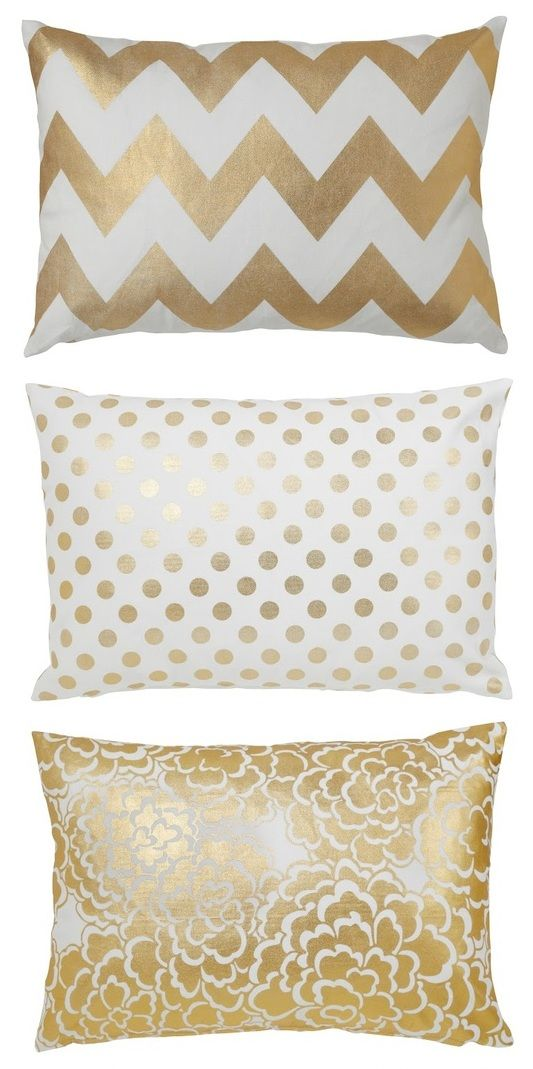 metallic pillows to match with my white sofa and those gold polka dot coffee cups - Gold Decorative Pillows