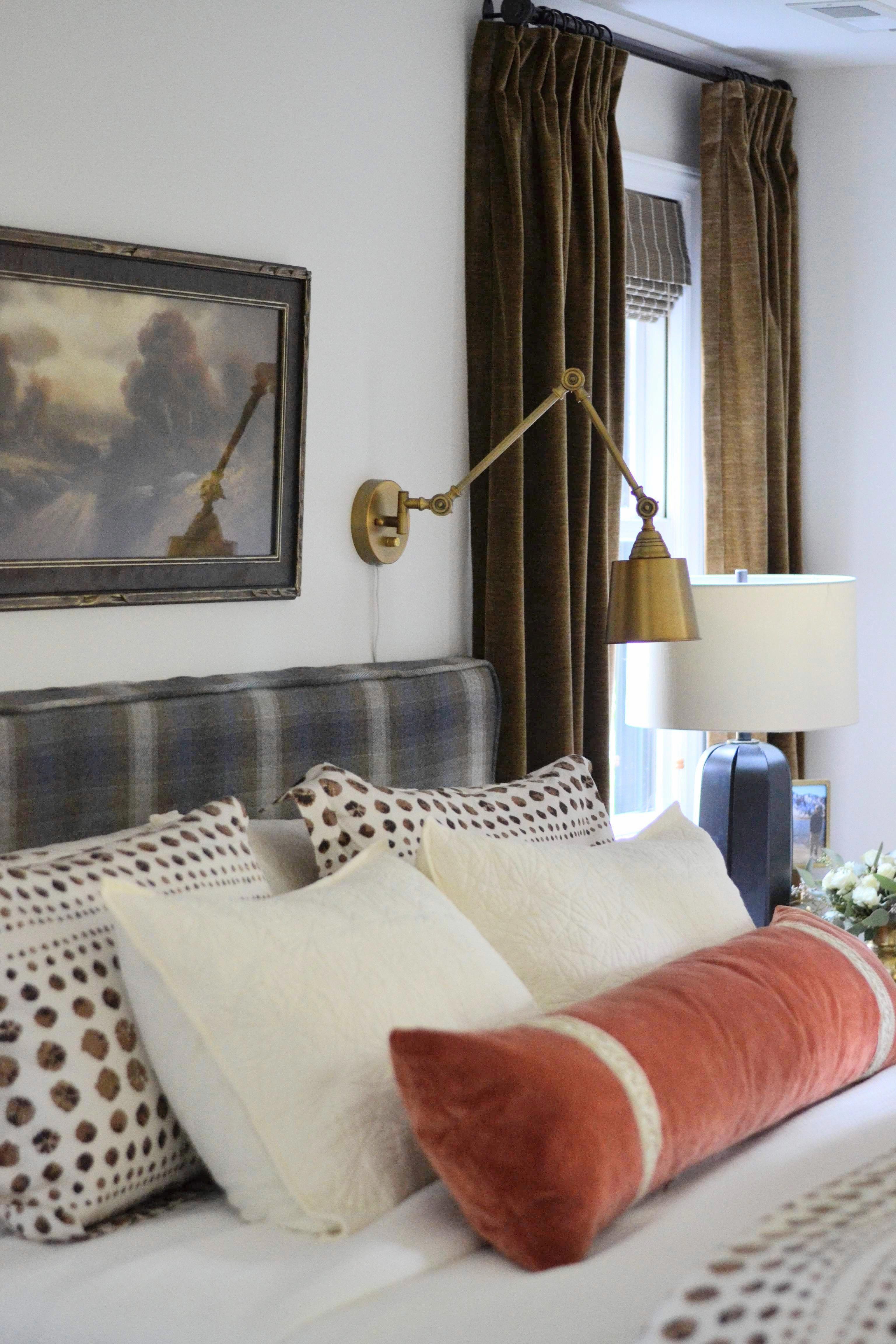 Kravet Toboggan Blue Jay, plaid headboard, Cate Holcombe Interiors #homedecorinspo