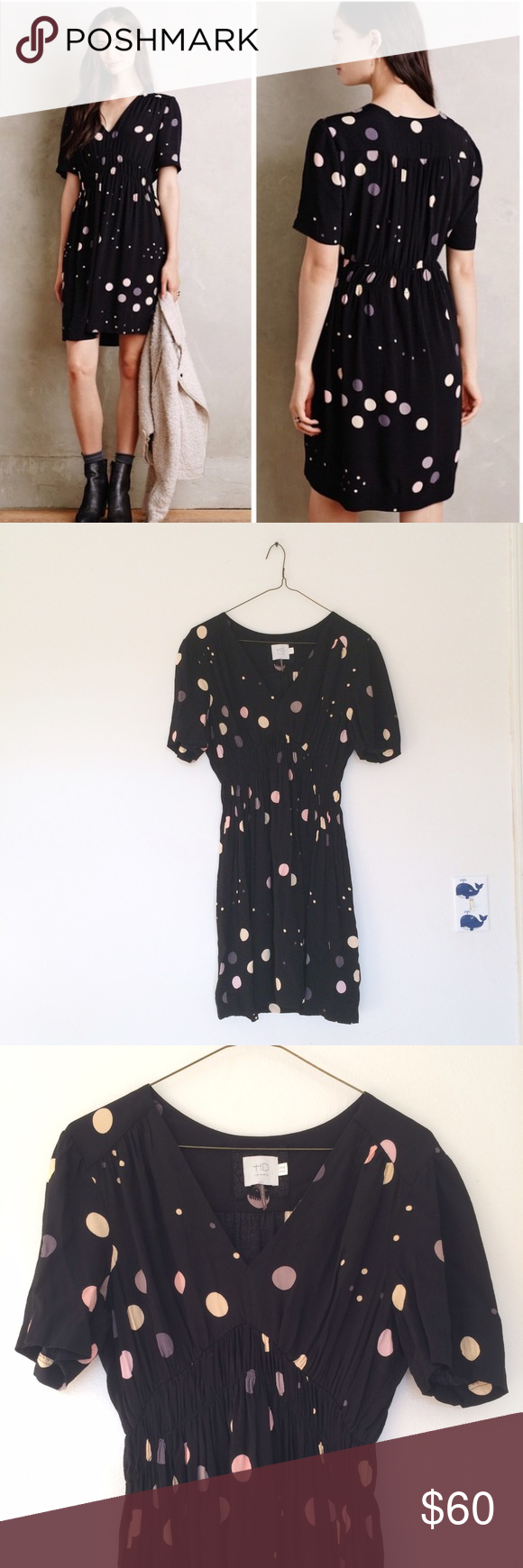 Anthropologie HD in Paris Polka Dot Dress Super cute polkadot black dress with a stretch waist. In excellent preowned condition! Anthropologie Dresses