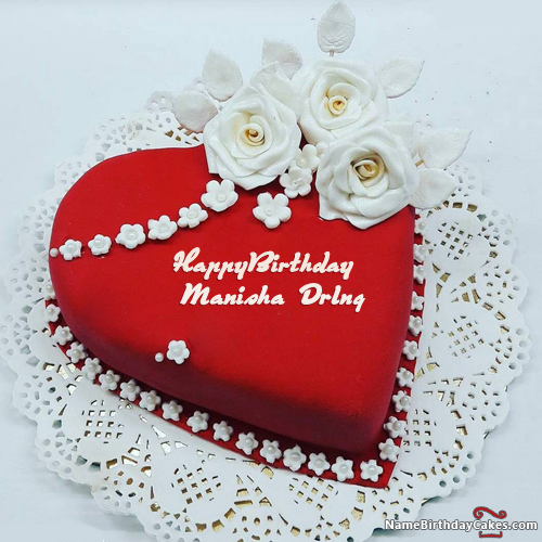 The name manisha drlng is generated on Heart Shaped Birthday Cake