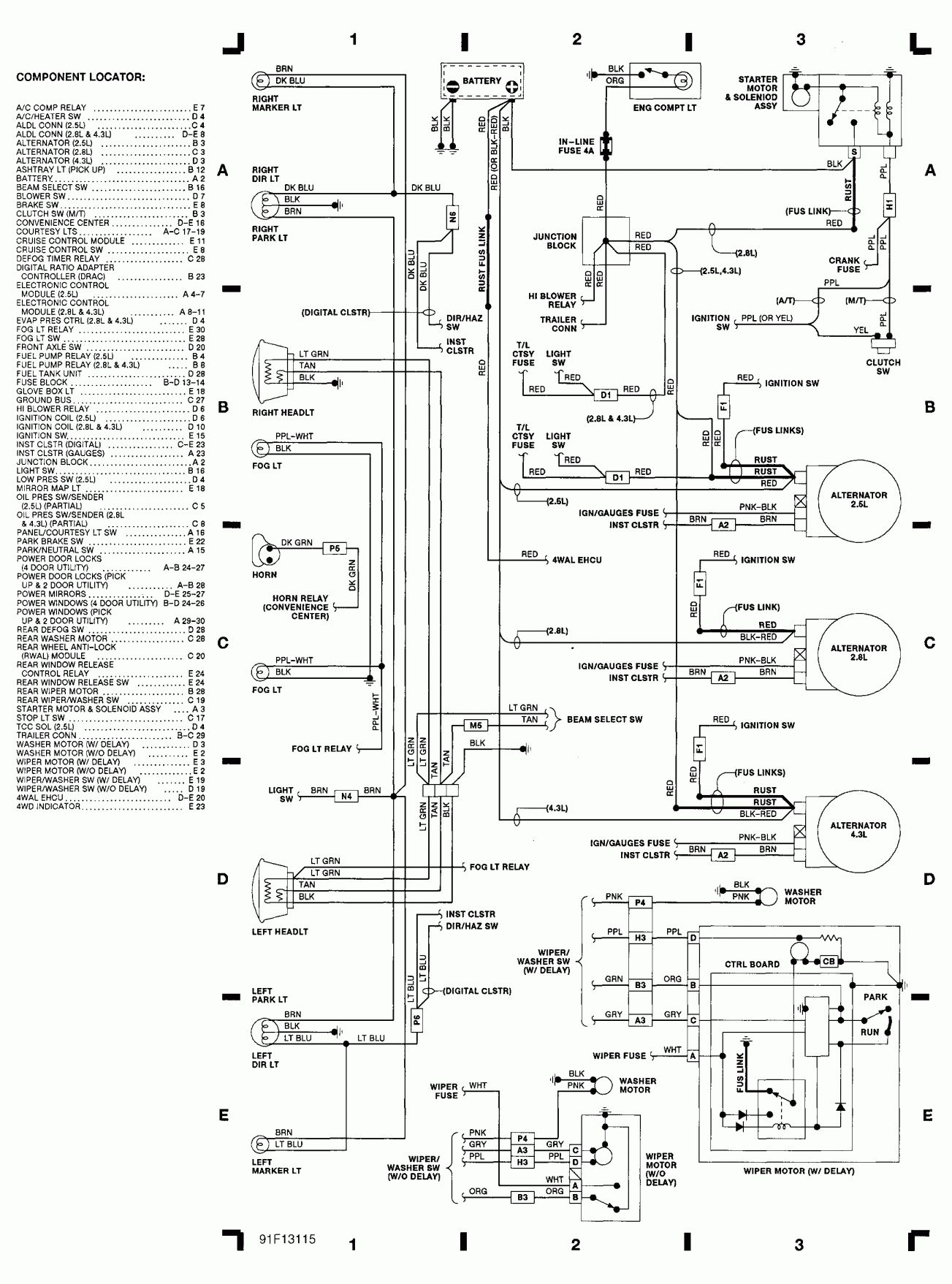 1998 Chevrolet Truck Wiring Diagram and Engine Compartment