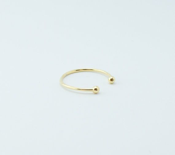 Minimalist jewelry 925 Sterling Silver Stacking ring Delicate ring Minimal ring Ring Ball Adjustable Gold Plated Open Ring