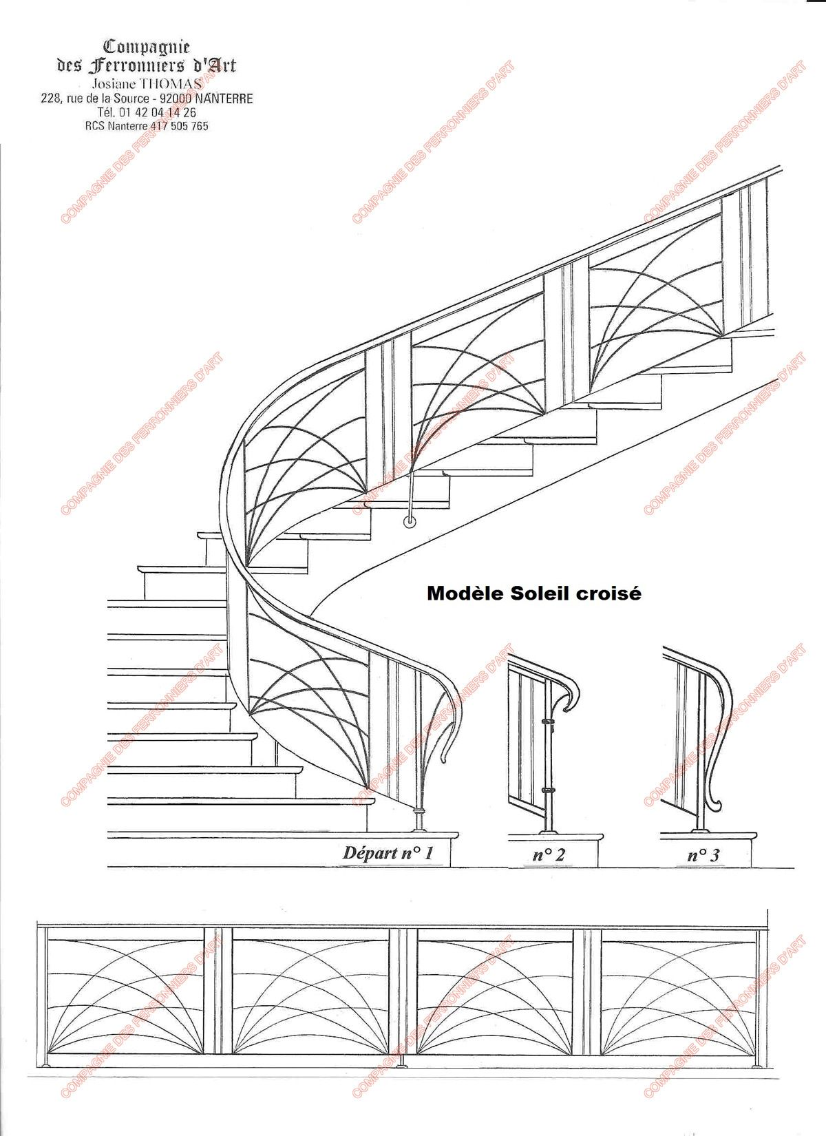 rampes d 39 escalier en fer forg art d coratif mod le soleil crois steel pinterest. Black Bedroom Furniture Sets. Home Design Ideas