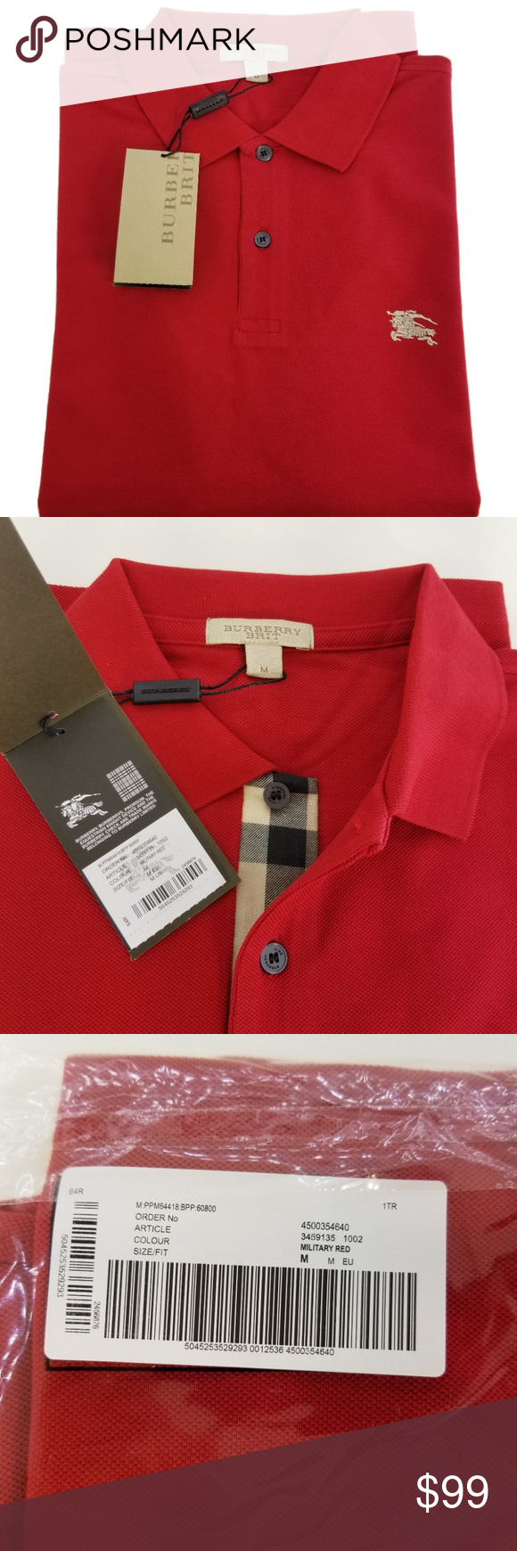 be2a9b1720f4 Burberry Brit Men s Military Red Shirt Medium Burberry Brit Men s Check  Placket Polo Shirt Medium Military