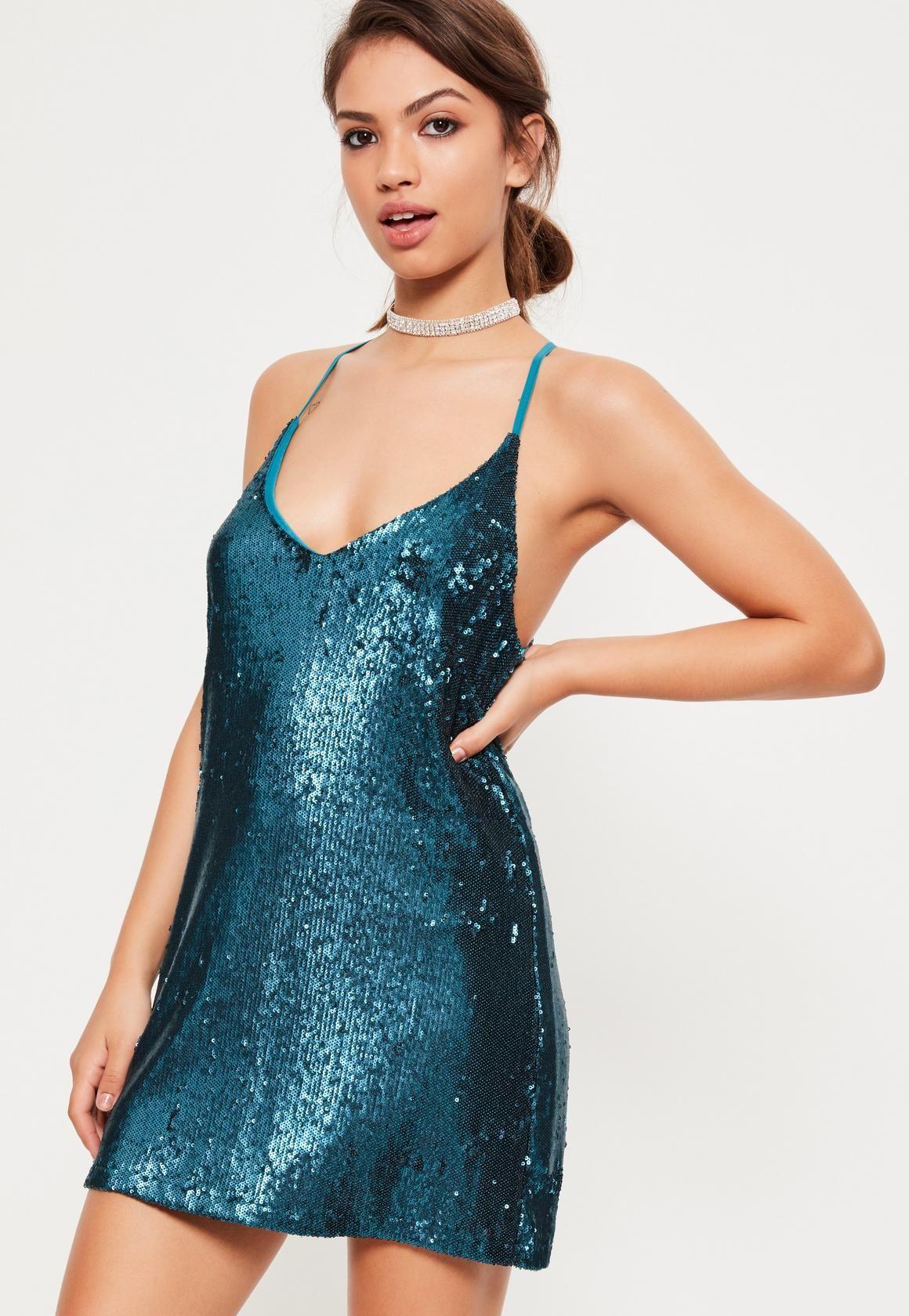 090cb1bbc41c Missguided - Blue Sequin Plunge Shift Dress