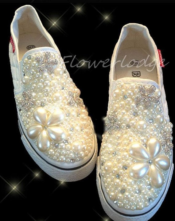 pearled women canvas shoes custom girl s canvas shoes ivory pearls luxury  flowers swarovski crystal 17fe0c91c7