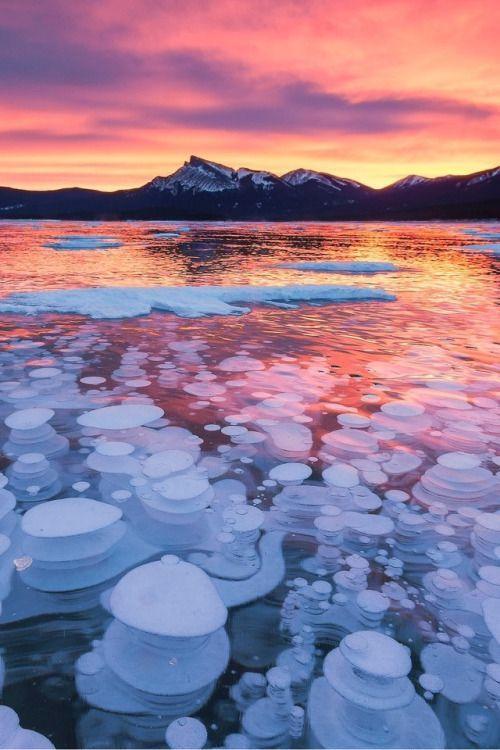 Photo of Sunset over a Frozen Lake #BeautifulNature #NaturePhotography #Nature #Photograp…