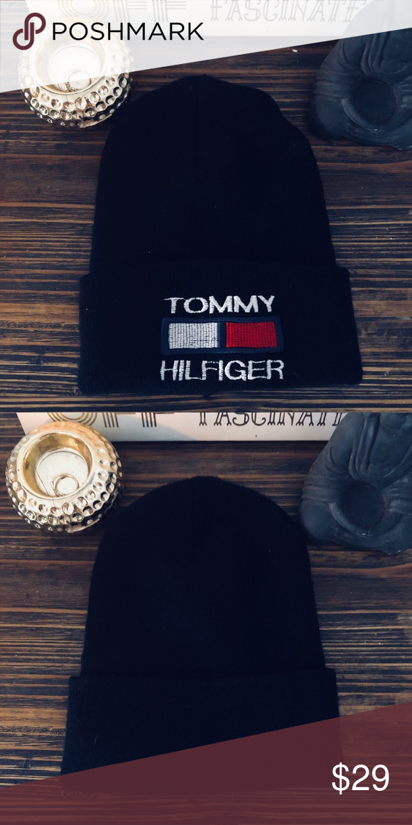 Vintage Tommy Hilfiger beanie hat Black vintage women s or men s Tommy  Hilfiger brand beanie. 90s era great condition kept in storage! fe33085f3bd