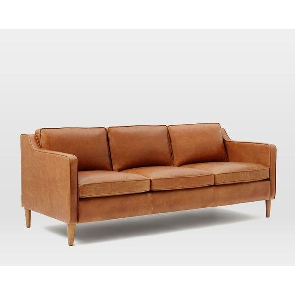 Hamilton Leather Sofa 1 999 Via Polyvore Featuring Home Furniture Sofas Cream
