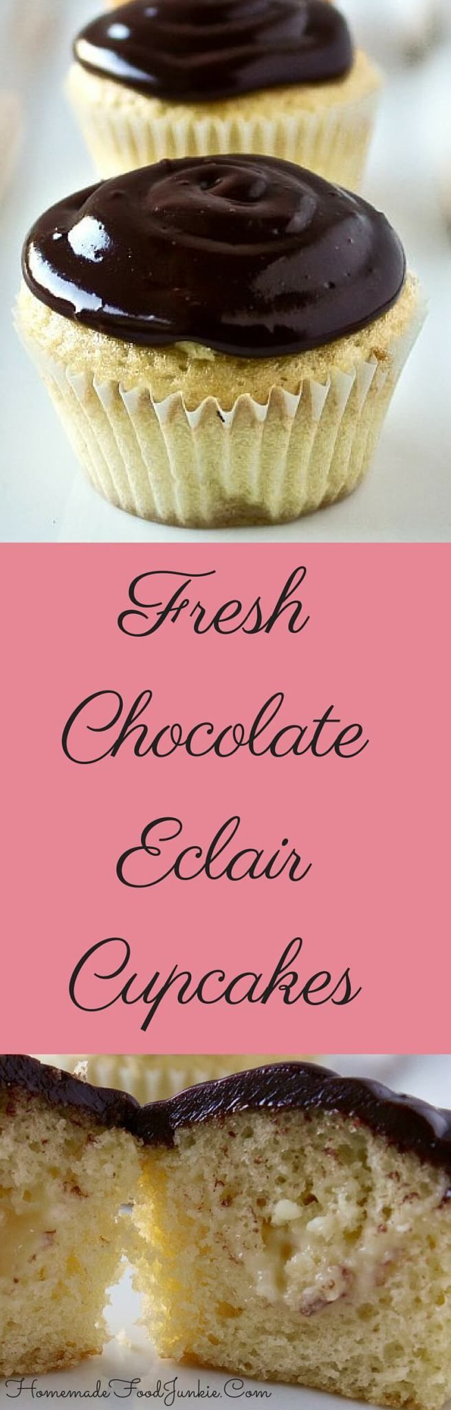 Fresh Chocolate Eclair Cupcakes  Filled with a creamy custard. Simply elegant! Made entirely from scratch by http://Homemadefoodjunkie.com