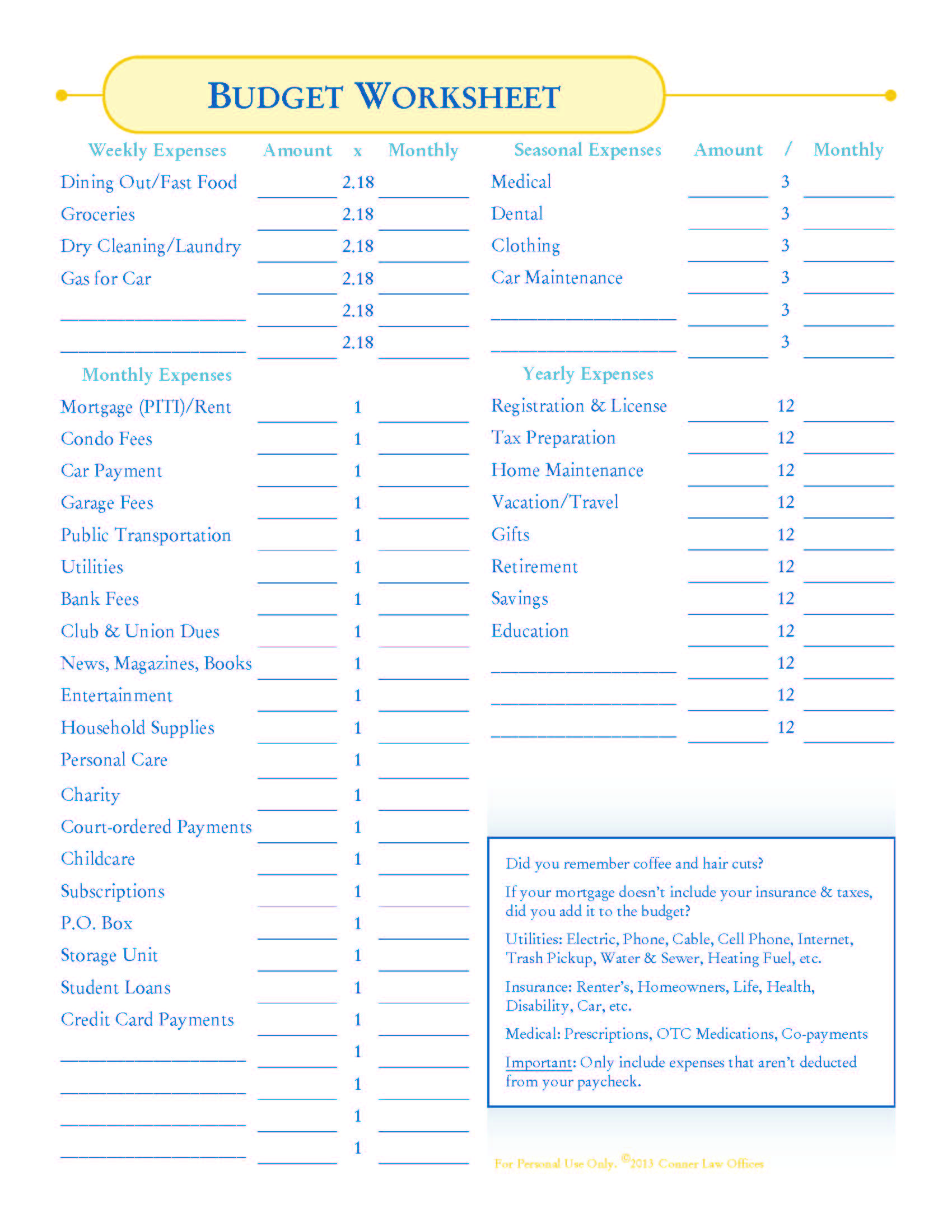 Monthly Household Budget Worksheet Printable  Free Worksheet