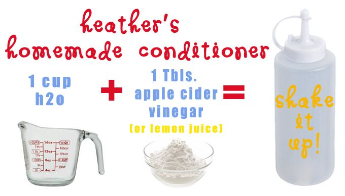 To condition hair: In the mustard squirt bottle (that came with the ketchup bottle!), mix 1 Tbsp of apple cider vinegar (or lemon juice) with 1 cup of hot water. After hair has been shampoo-ed and rinsed, condition ends of hair with the vinegar/water mixture, and massage into tips. Rinse as normal.