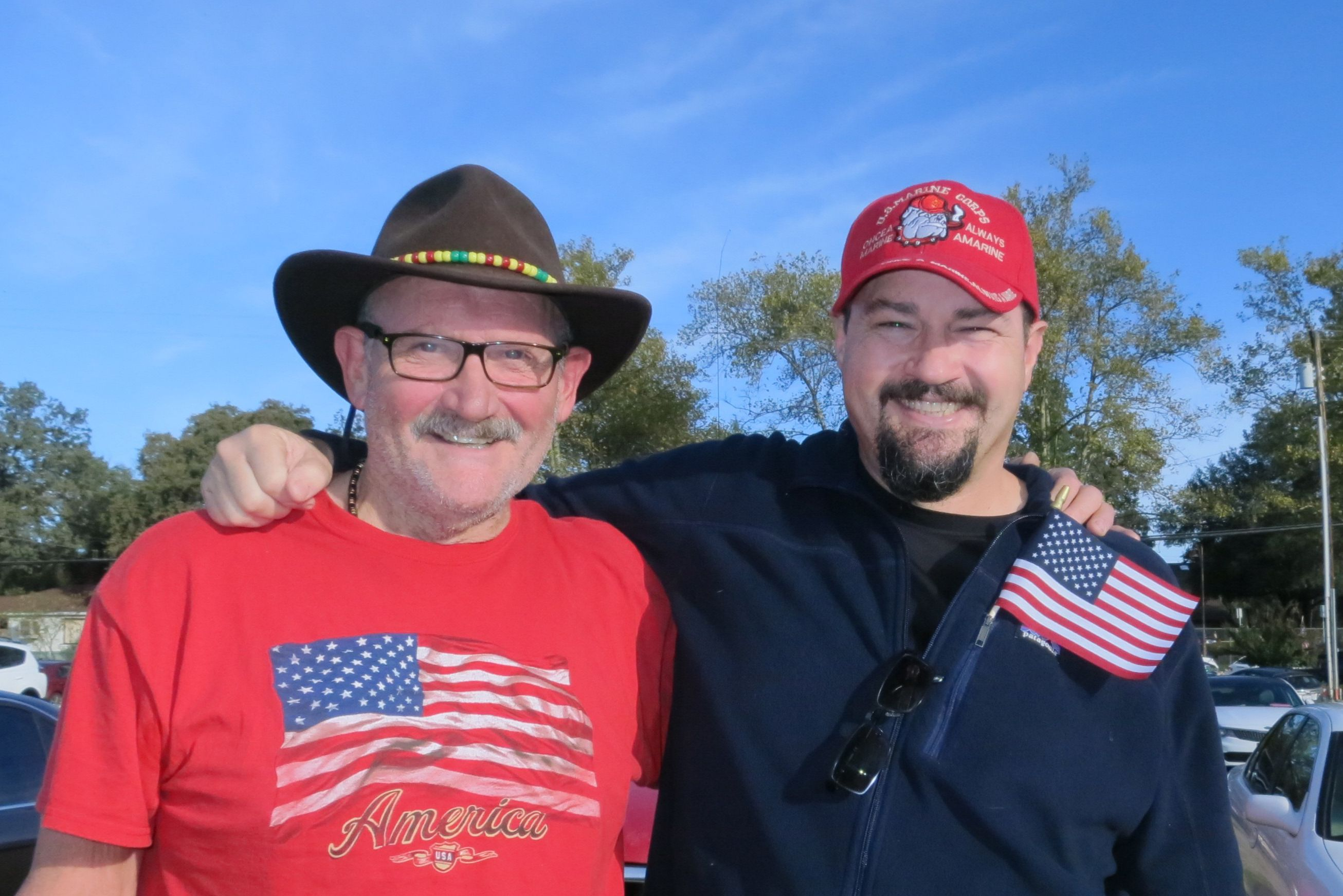 Jacque Jabs/Special to the Record Searchlight.   Mike Flagg (left) and his son Vince Flagg, both of Redding, attend the 24th annual Veterans Day Parade on Saturday in Shasta Lake. See more Scene! event photos at www.redding.com