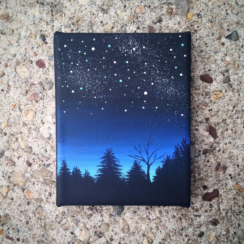 mini night sky acrylic painting