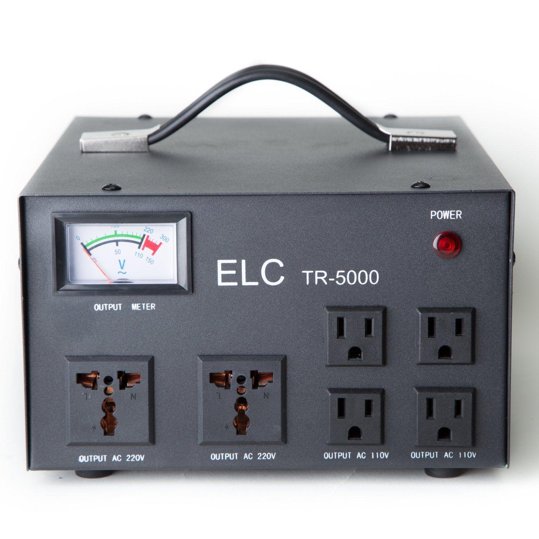 Elc Tr 5000 Watt 110v 220v Voltage Regulator With Transformer Portable Circuit Breaker Step Up Down Protection