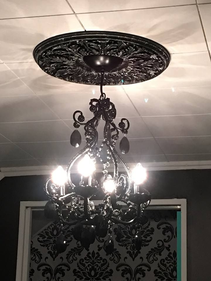 black chandelier and painted medallion for Paris themed black, white ...