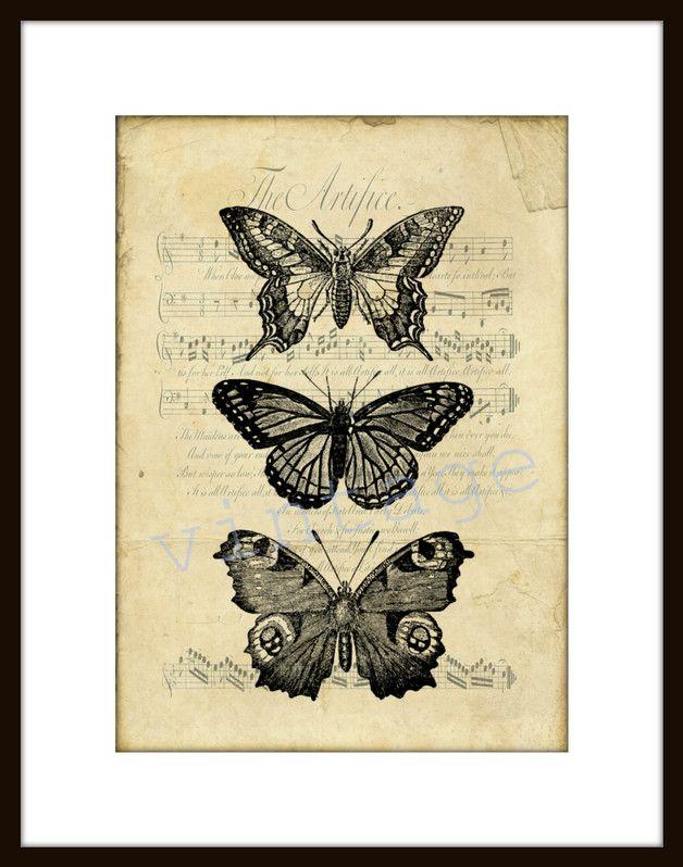 Digitaldruck - SCHMETTERLING r47 Digiprint Vintage   von VintagePrints via DaWanda.com
