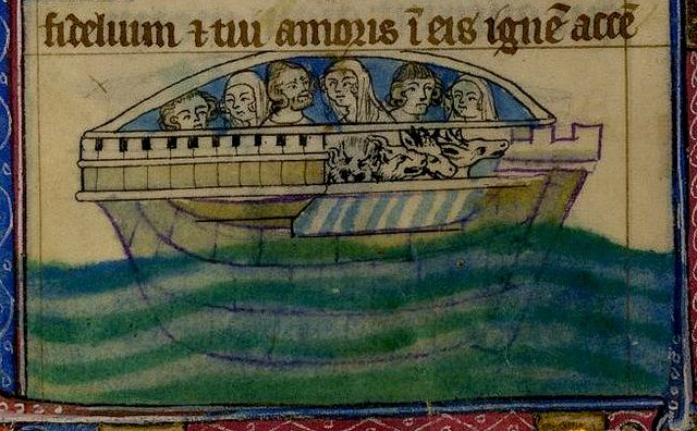 Noah-wife, two sons and their wives, with five beasts. bas de page. England 14th cent, YT BL | Flickr - Photo Sharing!