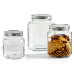 Anchor Hocking Glass Cracker Jars With Aluminum Lids Glass Food