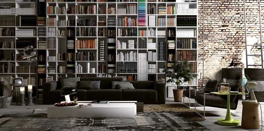 Great Floor To Ceiling Bookcase With Large Bookcase And Exposed Brick Wall Room  With Book Collection Idea With Ceiling Bookshelf