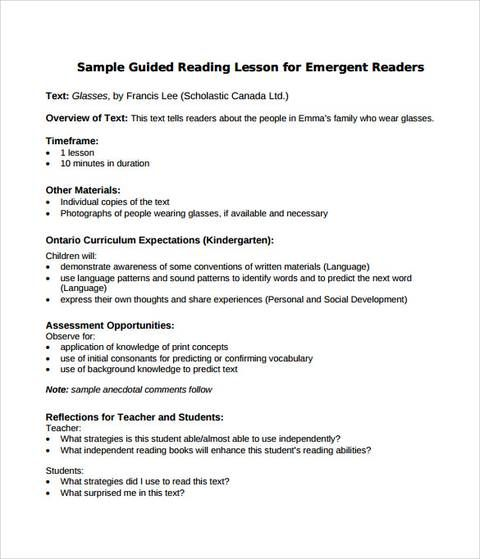 sample guided reading lesson plan format Literature Lesson plan