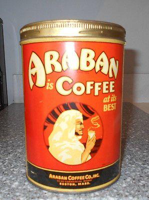 ANTIQUE 1# ARABAN COFFEE TIN~ARABAN COFFEE CO. INC. BOSTON MASS.