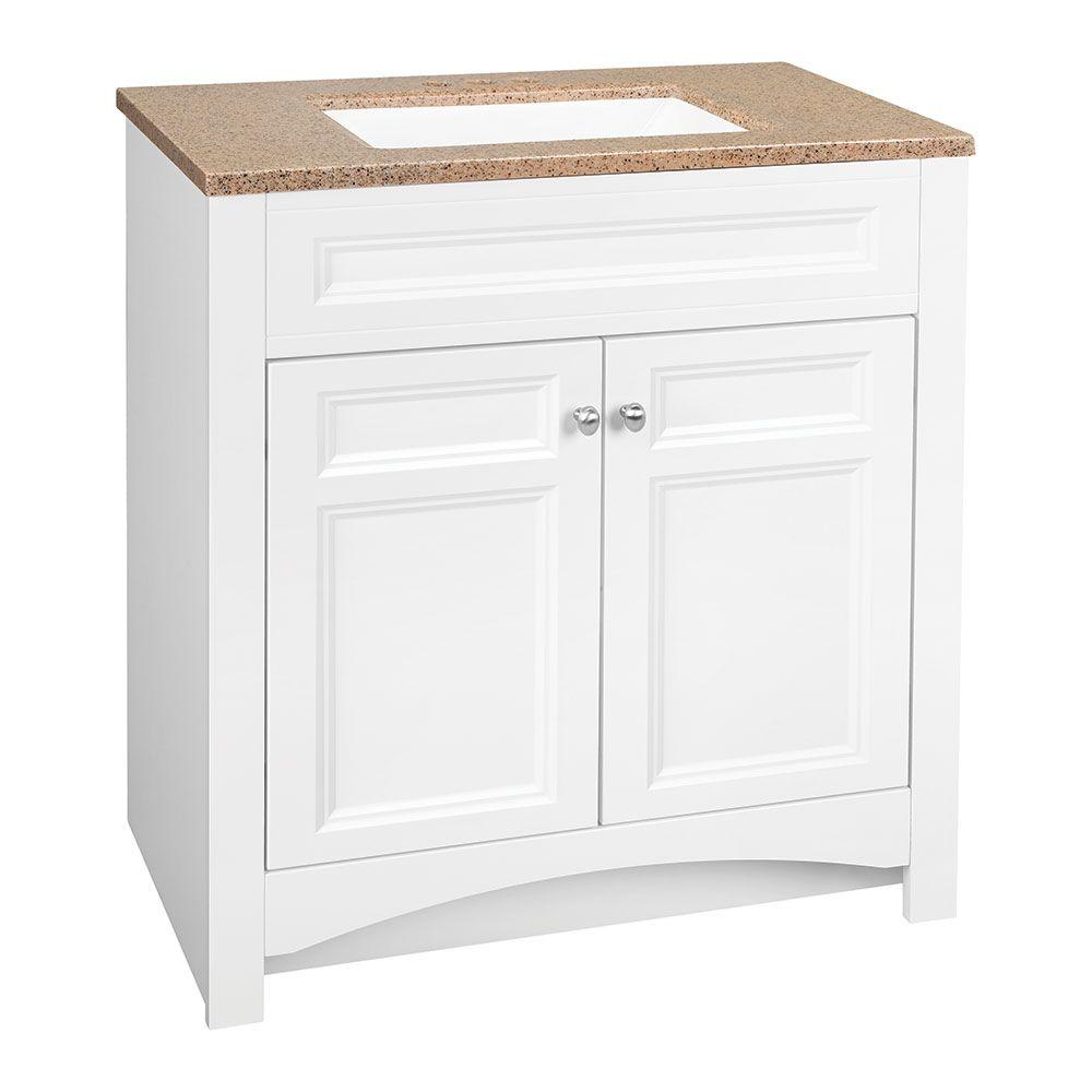 Glacier Bay Modular 30 5 In W Bath Vanity In White With Solid Surface Technology Vanity Top In Cappuccino With White B Modular Bathrooms White Sink Vanity Top