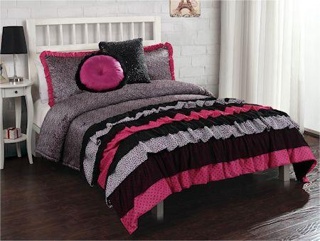 French Ruffle Hot Pink Black Animal Print Beddingteen Girl Twin