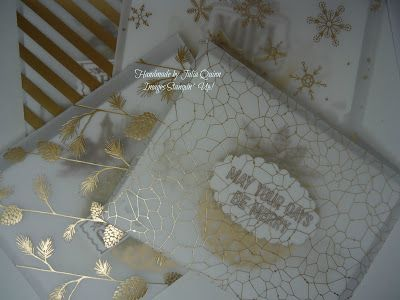 handmade by Julia Quinn  -    Independent Stampin' Up! Demonstrator: Berry Merry and Winter Wonderland Gold Gift Cards
