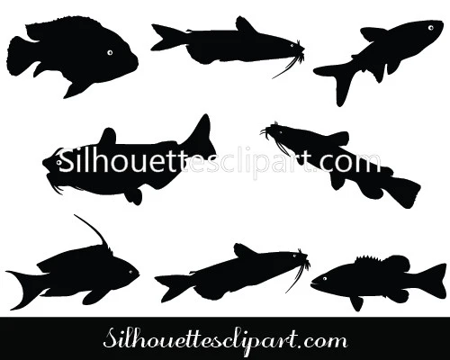 Catfish Silhouette Clipart Download Silhouettes Vector Fish Vector Fish Silhouette Clip Art