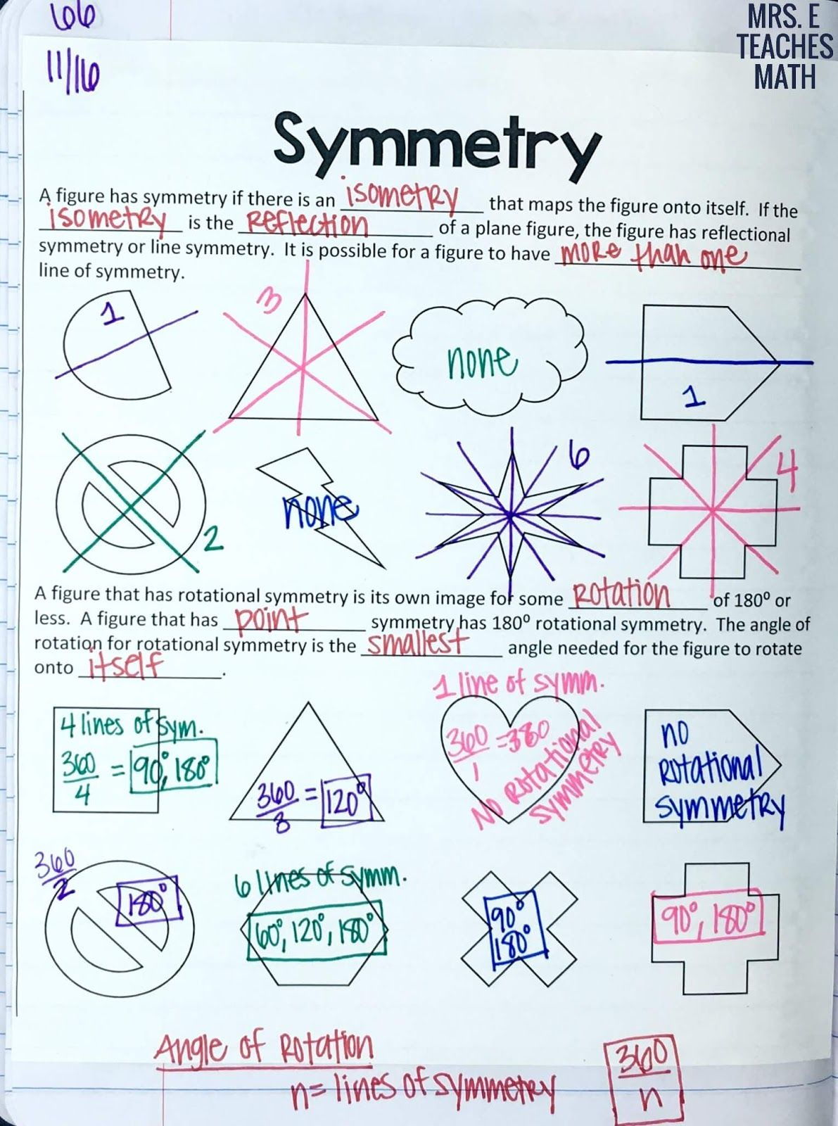 Dilations And Symmetry Inb Pages Geometry High School Teaching Geometry Geometry Interactive Notebook