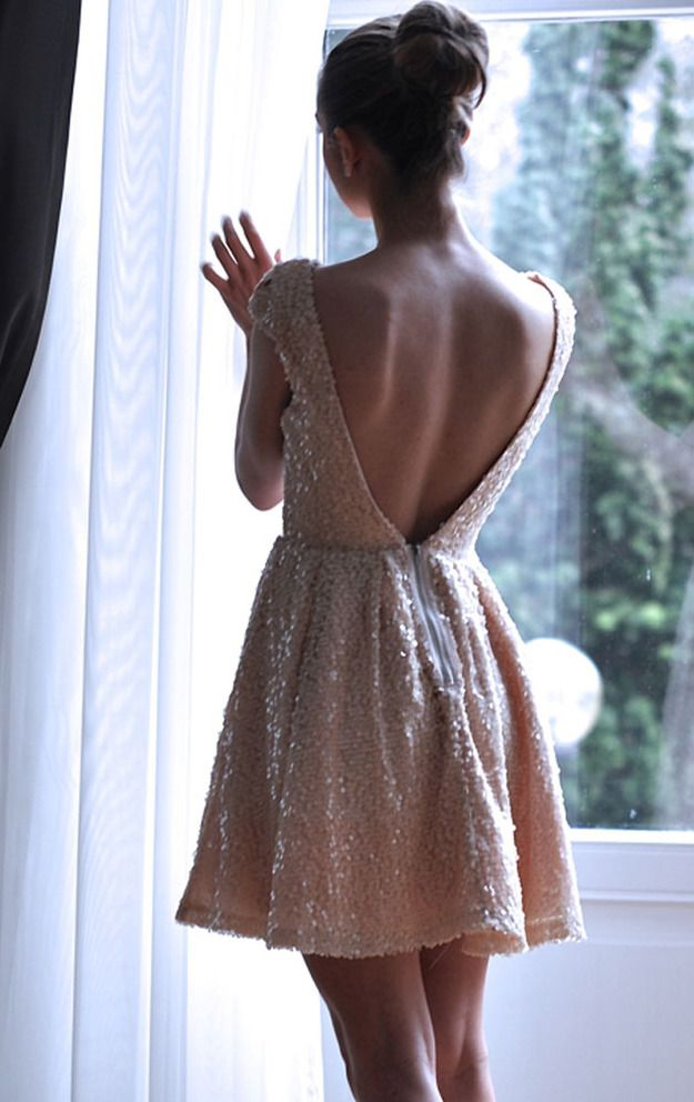Blush sequins + back appeal.