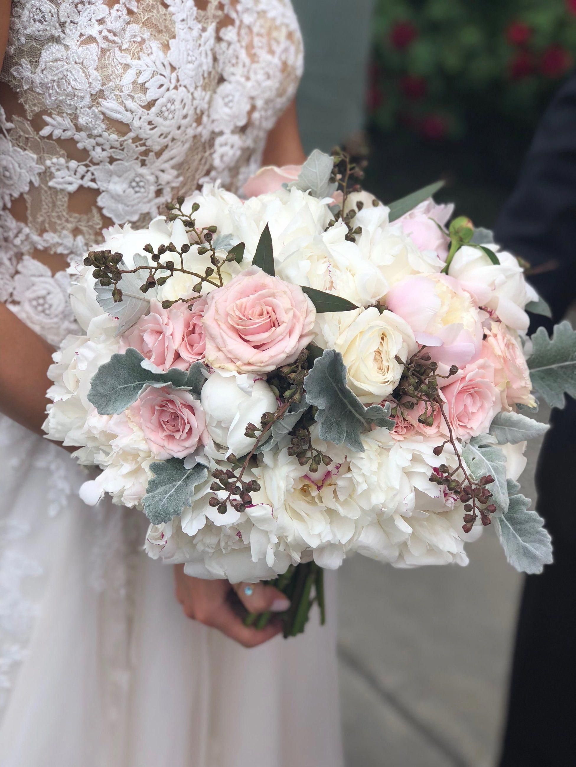 Peonies, Roses, Seeded Eucalyptus, Dusty Miller, and the
