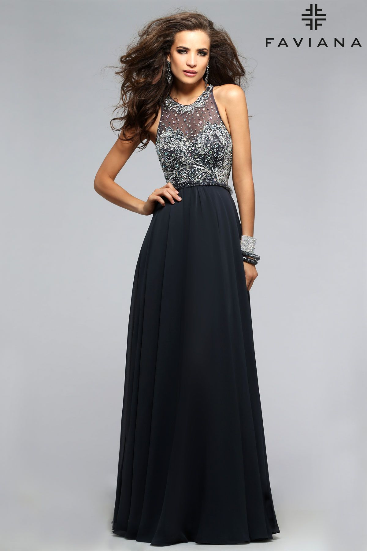 Chiffon scoop neck with jeweled top faviana style s