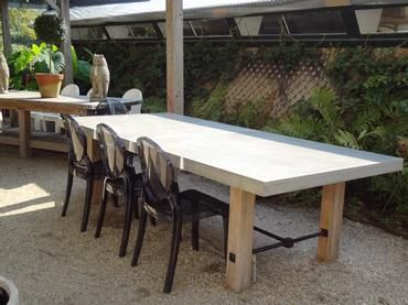 indoor outdoor concrete dining table