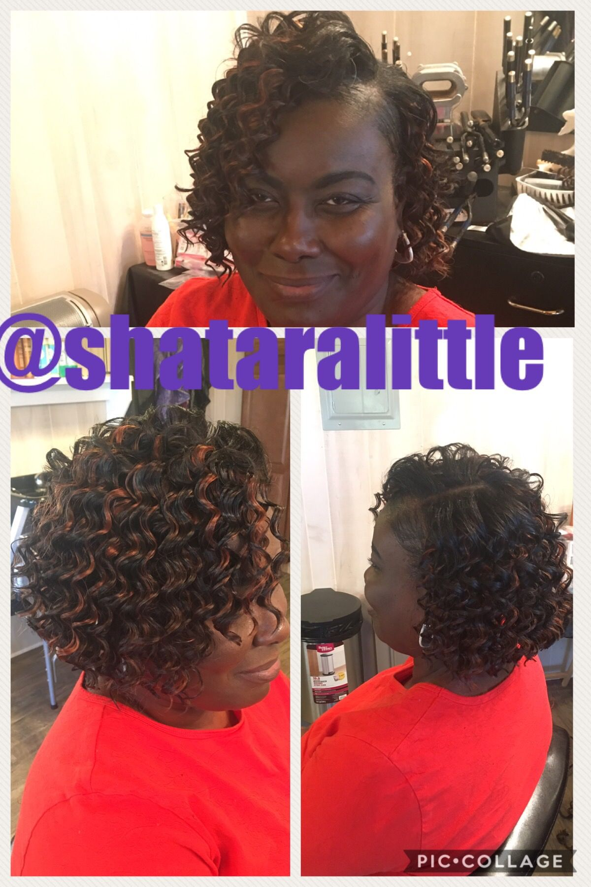 curly quick weave bob with leave out. deep wave hair