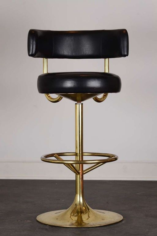 Furniture Spacious Brass Swivel Vintage Bar Stools With Round Shape Bench Seat And Round Shape Gold Pedestal Vintage Bar Stools Vintage Stool Brass Bar Stools