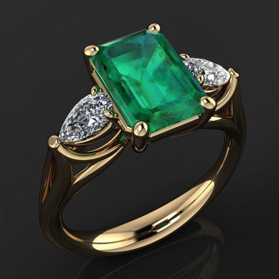 Crazy Rich Asians Ring 2 Carat Green Moissanite Ring
