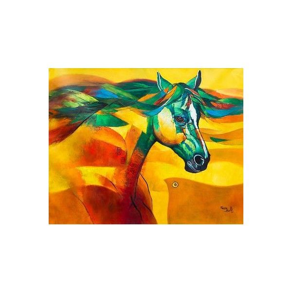 Novica andean original signed expressionist horse painting 760 ❤ liked on polyvore featuring home home decor wall art expressionist paintings