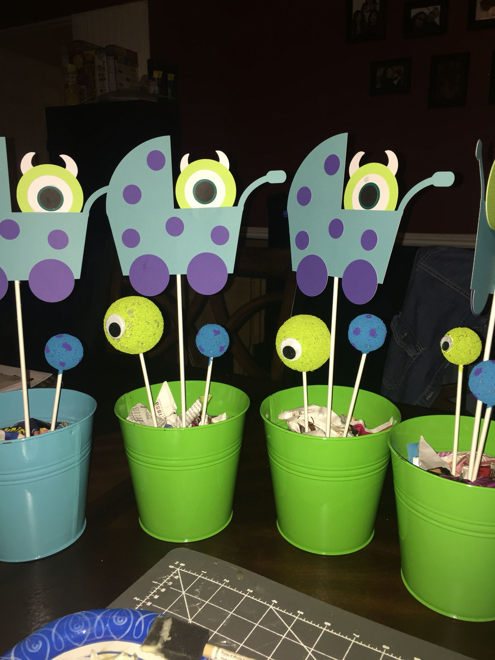 Monster Inc Baby Shower Decorations Almost Complete Monsters Inc Baby Shower Center Pieces Designs