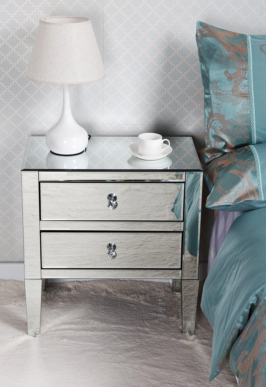 Table De Chevet Miroir Pas Cher miusco chevet 2 tiroirs table de chevet façades miroir